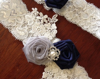 Wedding Garter Set/ Bridal Garter/ Garter/Garter Set/ Blue Garter/ Something Blue Garter Set/Grey Garter/ Bridal Garter/Toss Garter