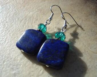 Lapis Gemstone and Turquoise Czech Glass Earrings, Gemstone Earrings, Southwestern Jewelry, Boho Jewelry, Statement Earrings, Bohemian