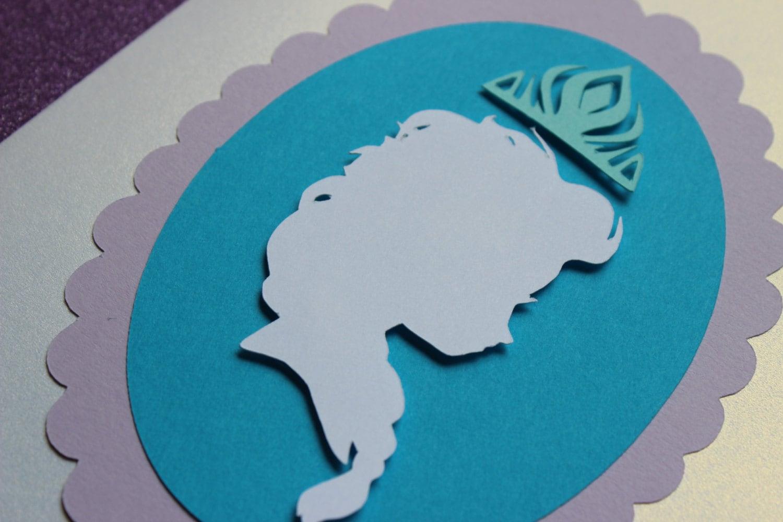 Queen Elsa Silhouette Frozen Flat card Invitations