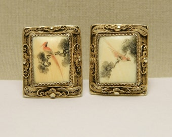 Vintage Chinese Gold Washed Sterling Silver Filigree Etched & Painted Red Birds Oxbone Earrings