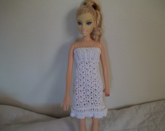 White Barbie Dress with Stole, Crocheted Barbie Dress, Crocheted Barbie Clothes, White dress with wrap, Barbie clothes, Barbie Dress