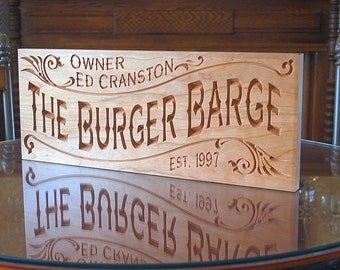 Custom Bar Sign, Pub Sign, Carved Wood Sign, Custom Pub Sign, Rustic Man Cave Sign, Benchmark Signs, Beer Sign, Benchmark Signs Cherry BG