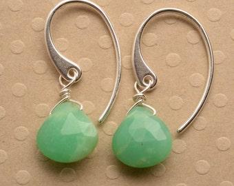 Green Chrysoprase Earrings, Gemstone Sterling Silver Earrings, Healing Gemstone, May Birthstone Earrings, Gemstone Drop Earrings