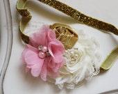 Pink, Gold and Ivory headband, baby headband, newborn headband, photography prop, pink headbands, gold headband