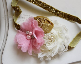 Pink, Gold and Ivory headband, baby headband, newborn headband, photography prop, pink headbands, gold headband