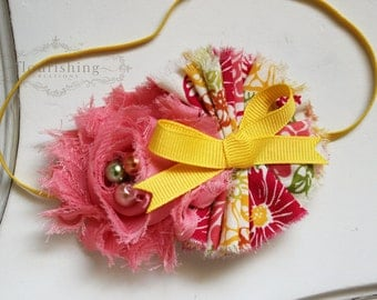 Summer Breeze- Coral and Yellow baby flower headbands, coral headbands, newborn headbands, summer headbands
