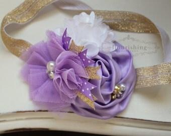 Lavender and Gold Headband, newborn headbands, lavender headbands, gold headbands, photography prop