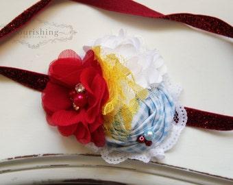 Dorothy Inspired headband, red and blue headbands, Wizard of Oz headband, newborn headbands, photography prop
