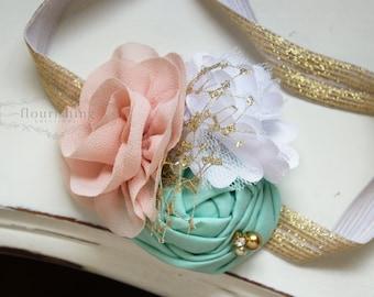 Mint, Gold and Blush headband, blush headbands, newborn headbands, gold headbands, vintage headbands, photography prop
