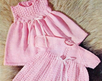 Baby Dresses 2 styles in 4 ply for sizes 16 to 20 ins - Lotus 6032 - PDF of Vintage Knitting Patterns