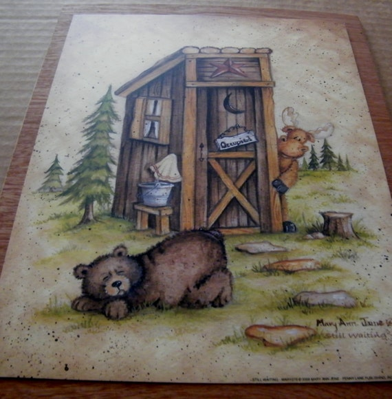 Wood Country Primitive Bathroom OUTHOUSE Sign MOOSE BEAR Occupied