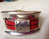 Red Spanish Leather Cuff  FREE SHIPPING