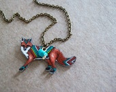 Fox Necklace | Red Fox | Chevron Animal | Gifts Under 25