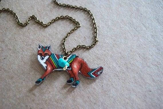 Fox Necklace | Red Fox | Chevron Animal | Gifts Under 25