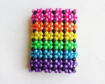 6 X Tall Rainbow X-Base Cuff - Rave - Kandi Cuff - Shimmer Beads - EDC