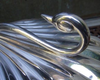 Opulent Silver Plate Scalloped Swan Serving Tray