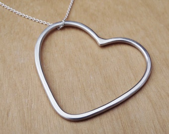 Long Silver Heart Necklace - Sterling Silver