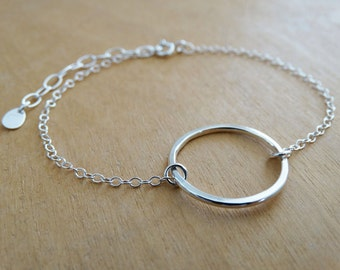 Silver Circle Bracelet - Dainty Open Silver Circle - Sterling Silver