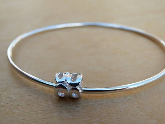 Silver Bangle & Silver Circles Bead - Sterling Silver