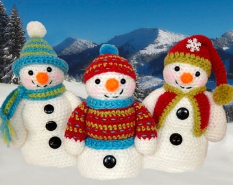 Frosty, Freezy and Fred, Amigurumi Snowman Trio