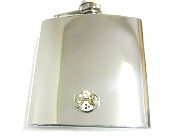 Steampunk Watch Gear Pendant 6 oz. Stainless Steel Flask with Clear Swarovski Crystal