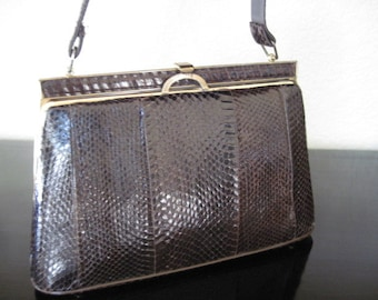 Vintage Brown Snake Skin Hand Bag