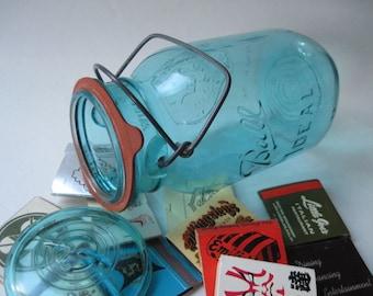 Vintage Aqua Blue Ball Ideal Bicentennial Jar with Vintage Matchbooks