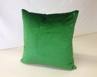 Green silk velvet Pillow Cover, 18 x 18, Christmas Holiday Decor