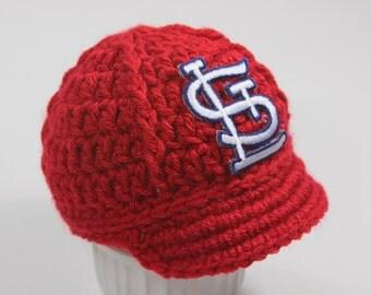Baby St. Louis Cardinals Cap - Hat - Knitted / Crochet - Baby Gift / Newborn - Photo Photography Prop - Baseball