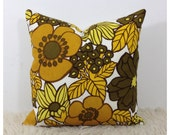 "Cushion Cover Vintage 1970s Yellow Flower Power  18"" x 18"" Retro Accent Pillow"