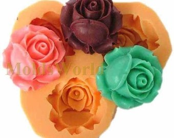 A065 Rose Flower Cabochon 3 Cavities Flexible Silicone Mold Mould for Crafts, Soap,Jewelry, Scrapbooking,  (resin, Utee, pmc, polymer clay)