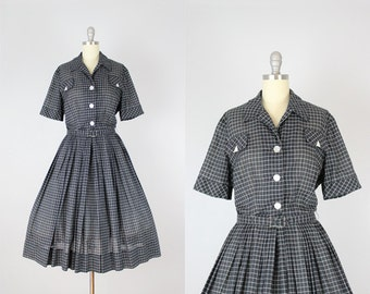 vintage 50s dress / 1950s cotton shirtwaist dress / black and white checkered dress / MR. EDDIE dress / grid print dress