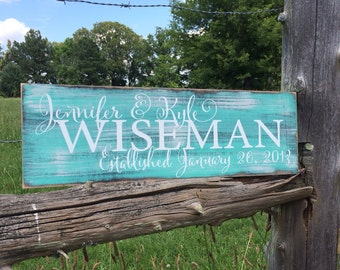 Personalized family sign. Established sign.