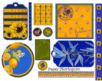 Scrapbook Digital Printable Provencal Gold, Blues, Yellows and Olives Collage Sheet South of France