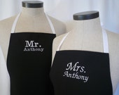 Personalized Mr & Mrs Matching Apron Set with Pocket - Black and White, FREE SHIPPING with FREE recipes, Polyester Blend Black Aprons