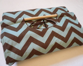 Chevron 9x13 Dish Tote with FREE Recipe - Can be Personalized Chocolate Brown and Teal, Aqua, Turquoise, Chevron ZigZag Stripe