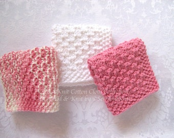 Dish Cloth, Wash Cloths, Spa Cloths, Face Cloth  - Set of Three Hand Knit Cotton Cloths in Rose & White for Country Kitchen or Bath
