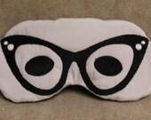 Embroidered Eye Mask, Sleeping, Cute Sleep Mask for Kids or Adults, Sleep Blindfold, Slumber Mask, Eye Shade, Glasses Design, Handmade
