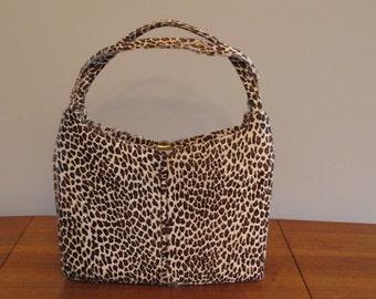FREE SHIPPING  Leather Bag Real Animal Print Purse Sydney  California Retro Handbag Large Leopard Print Shoulder Bag Vintage Leather Handbag