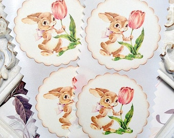 Spring Bunny Stickers (8) Bunny Seals-Bunny Labels-Favor Stickers-Easter Labels-Shabby Easter Sticker-Treat Bag Sticker-Easter Embellishment