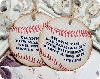 Vintage Baseball Favor Tags (6) Custom Baseball Tags-Baseball Gift Tag-Baseball Party-Baseball Treat Tag-Sports Party-Baseball Baby Shower