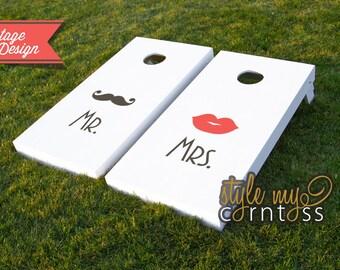 Wedding Cornhole Set - Mr. Mustache & Mrs. Lips Vintage Design