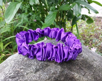 Upcycled Steampunk Clothing - Wedding Garter - Something Blue - Purple Satin and a Mini Blue Bow