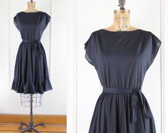 lbd, vintage 1960s Sheer Black Flutter Dress - size small to medium