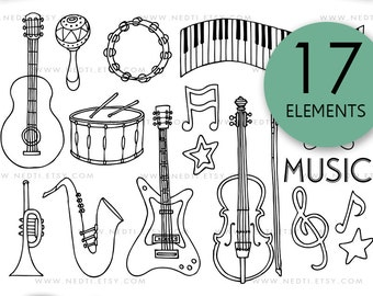 Musical Instruments Doodle Clip Art set, PNG, Instant Download, Music, Drum, Guitar, Piano, Cello, Saxophone,Violin, Maracas, Tambourine