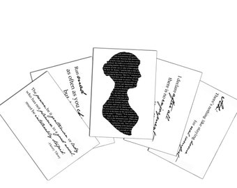 Jane Austen Novel Quotes Notecards- Flat, 5x7, with matching Envelopes, Set of 5