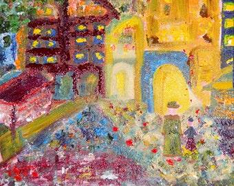 Autumn Paris Night, Paris Impressionism, Original Oil,The Louvre, Mother Son Walking, 20x16,Kathleen Leasure, FromGlenToGlen