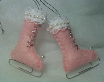 Christmas ornament PINK felt Ice Skates one PAIR lace and pearl trim Paper clip blades