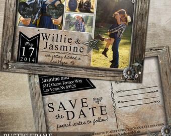 Rustic Wedding Save the Date, Rustic Photo Save the Date Postcard, Printable Save the Date Postcard, Wood Frame Wedding Printable