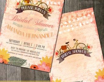 Watercolor Bridal Shower Invitation Set, Rustic Bridal Shower Invitation, Floral Bridal Shower Invitation, DIY Bridal Shower Printable